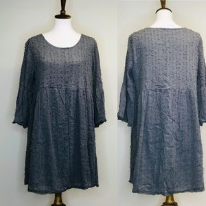 Boho Threads Tunic Gray w/ Bell Arms Size Large
